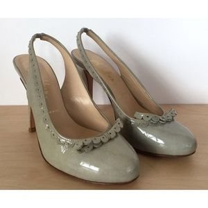 BUTTER Anthropologie Green Gray Leather Pump Heels